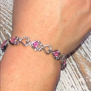 Jewelry - Gently Used Pink/Silver Heart  Design Bracelet
